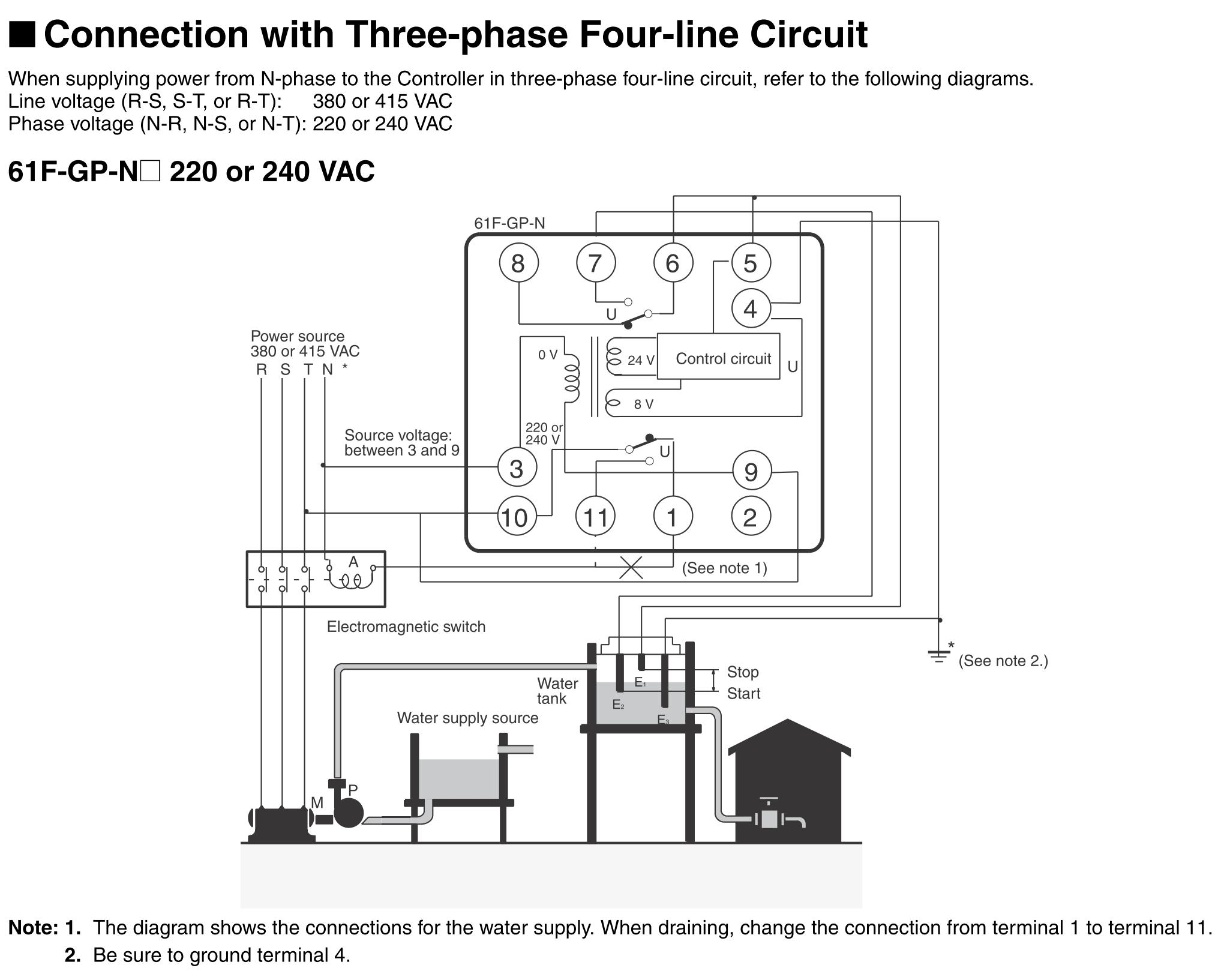 Connection with 3 phase 4 line circuit directory image omron 61f gp n Omron plc Diagrams at gsmx.co